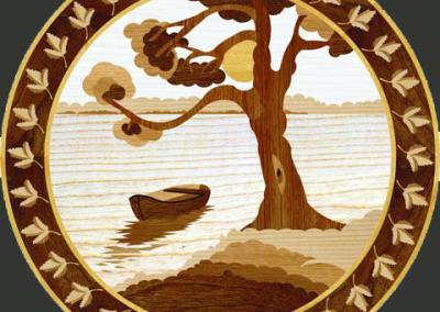intarzije_medaljon Barka na rijeci-Boat on the River