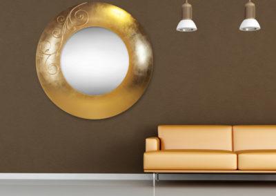 Orange couchin a minimal living room